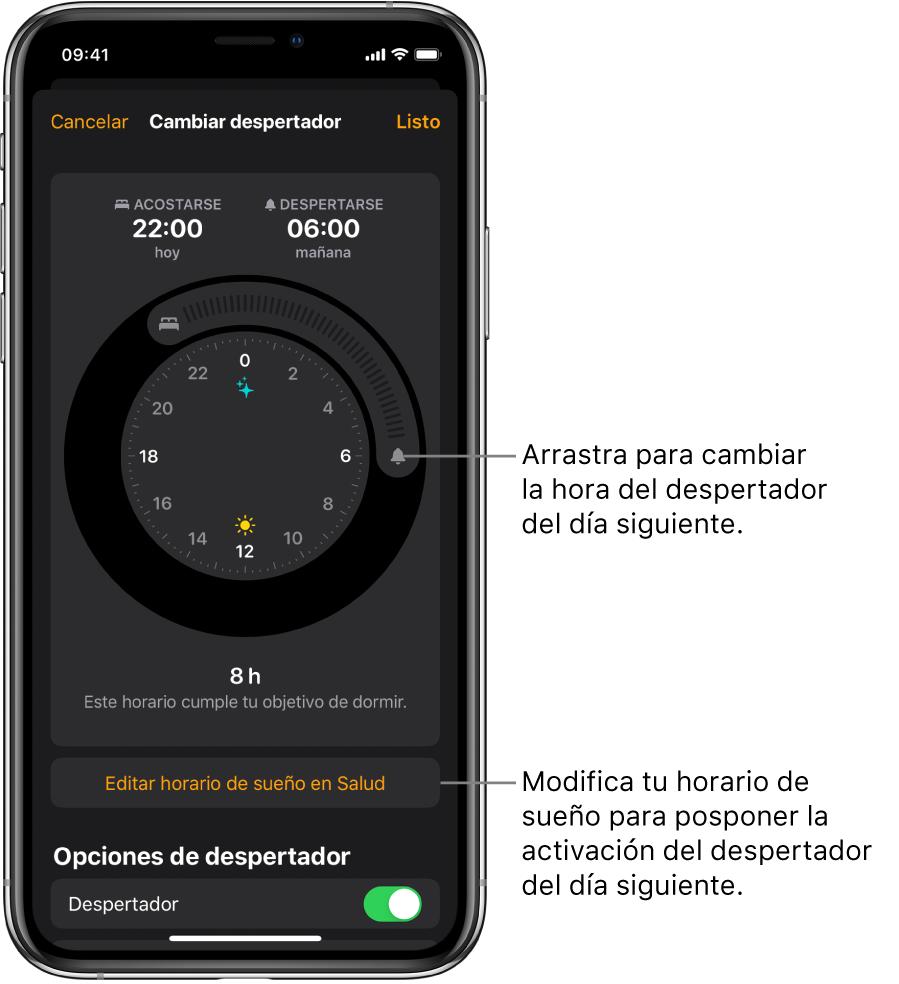 Una pantalla para cambiar la alarma del día siguiente, con botones que se pueden arrastrar para cambiar las horas de dormir y de despertar, un botón para cambiar el horario de sueño en la app Salud, y un botón para activar o desactivar el despertador.