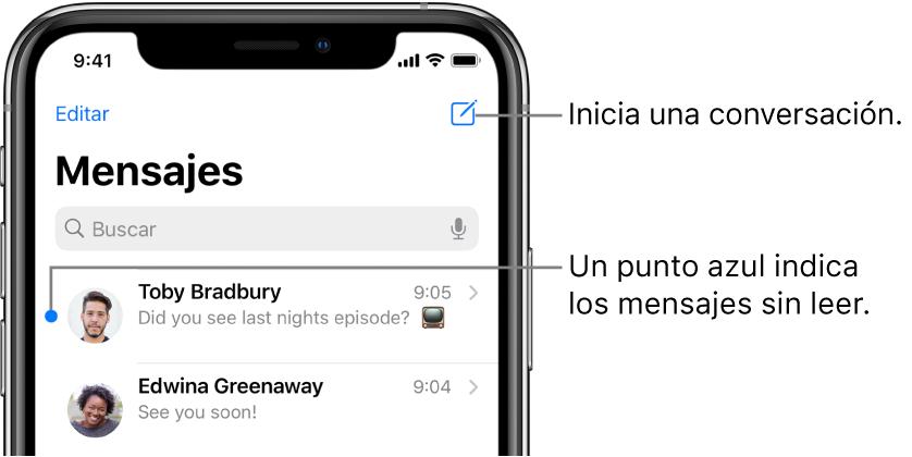 La lista Mensajes, con el botón Editar en la parte superior izquierda y el botón Redactar en la parte superior derecha. Un punto azul a la izquierda del mensaje indica que no se ha leído.