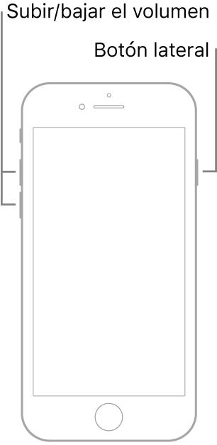 Una ilustración de un modelo de iPhone boca arriba que cuenta con botón de inicio. Los botones para subir y bajar el volumen se encuentran en el lado izquierdo, y el botón lateral está en el lado derecho.