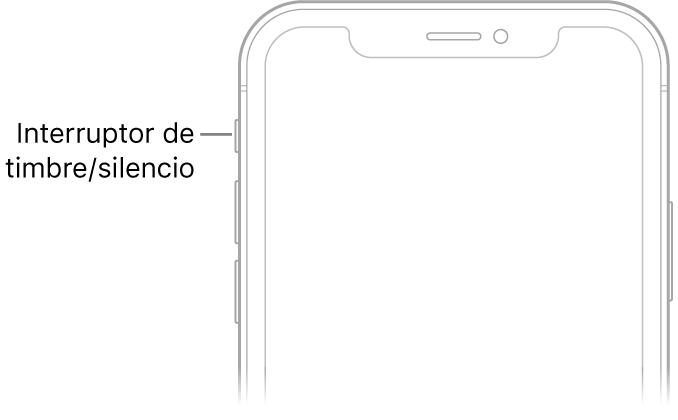 Parte superior del frente del iPhone con un texto que indica dónde está el interruptor de tono/silencio.