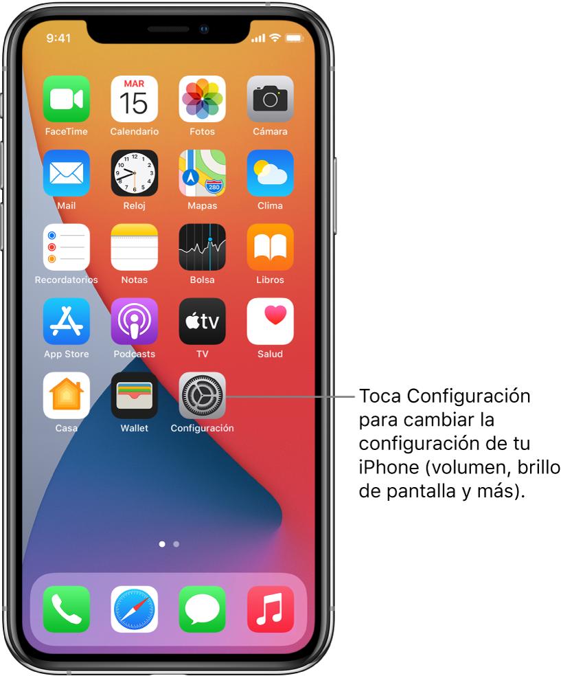 Pantalla de inicio con varios íconos de apps, incluyendo el ícono de la app Configuración, que puedes tocar para modificar el nivel del volumen del iPhone, el brillo de la pantalla y más.