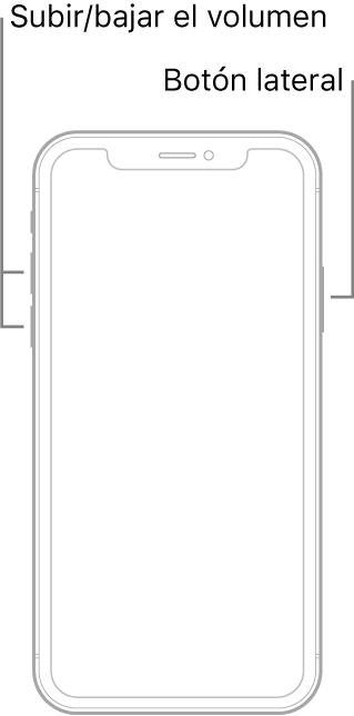 Una ilustración de un modelo de iPhone boca arriba que no cuenta con botón de inicio. Los botones para subir y bajar el volumen se encuentran en el lado izquierdo, y el botón lateral está en el lado derecho.