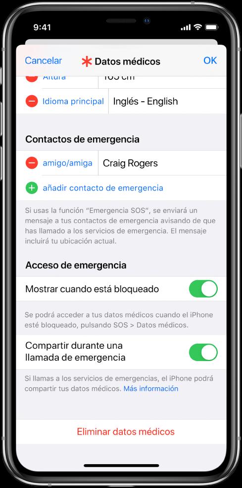 """La pantalla """"Datos médicos"""". En la parte inferior están las opciones para mostrar la información de los datos médicos cuando la pantalla del iPhone está bloqueada y al hacer una llamada de emergencia."""