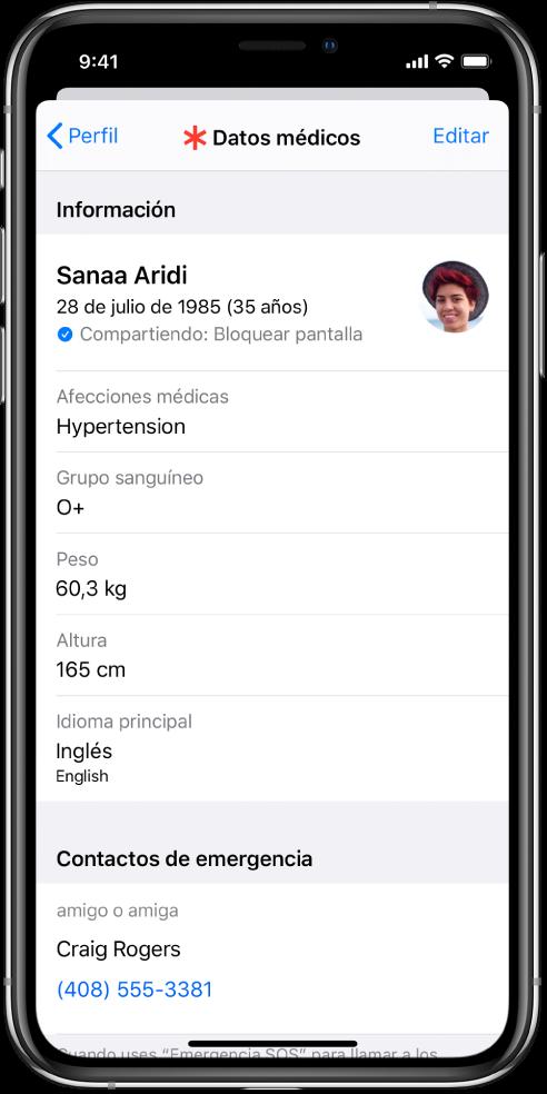 """La pantalla """"Datos médicos"""" con información como la fecha de nacimiento, afecciones médicas, medicación y un contacto de emergencia."""