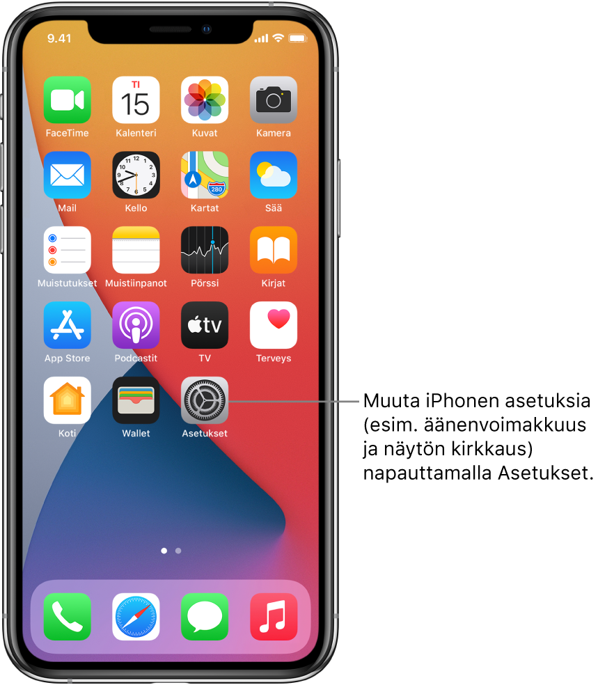 Koti-valikko, jossa näkyy useita appikuvakkeita, muun muassa Asetukset-apin kuvake, jota napauttamalla voit muuttaa esimerkiksi iPhonen äänenvoimakkuutta ja näytön kirkkautta.