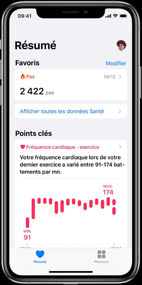 Écran Résumé montrant Étapes en tant que catégorie de Favoris. Sous «Points clés», l'écran montre des informations relatives à la fréquence cardiaque pendant l'exercice le plus récent.