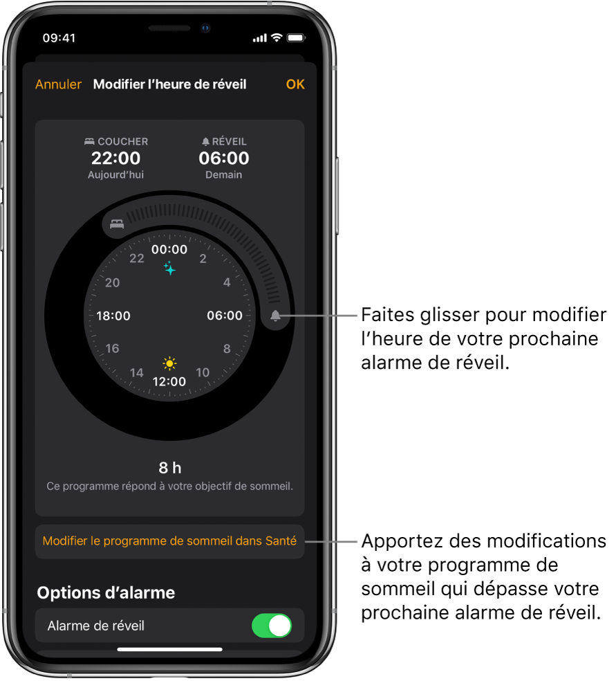 Un écran permettant de modifier l'alarme de réveil du lendemain, avec des boutons à faire glisser pour modifier les heures de coucher et de réveil, un bouton pour modifier le programme de sommeil dans l'app Santé, et un bouton pour activer ou désactiver l'alarme de réveil.