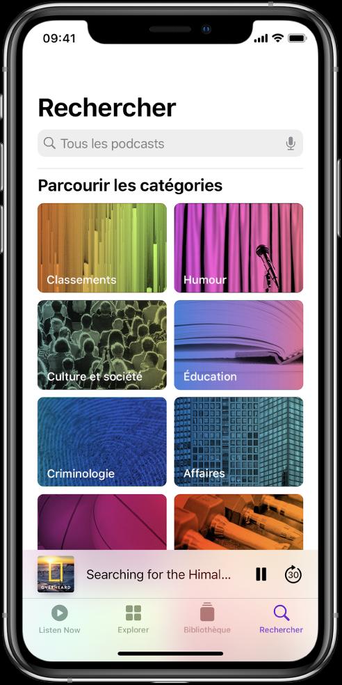 L'écran Rechercher affichant les catégories Classements, Humour, «Culture et société», Actualité, Criminologie et Affaires.