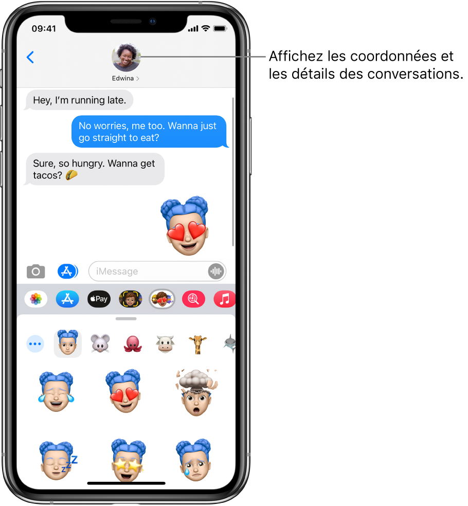 Exemple de conversation dans Messages. En haut de l'écran, de gauche à droite, sont affichés le bouton Retour et la photo de la personne à laquelle vous écrivez. Au centre, se trouvent les messages envoyés et reçus au cours de la conversation. En bas de l'écran, de gauche à droite, se trouvent les boutons Photos, Stores, ApplePay, Memoji, DigitalTouch, #images et Musique.