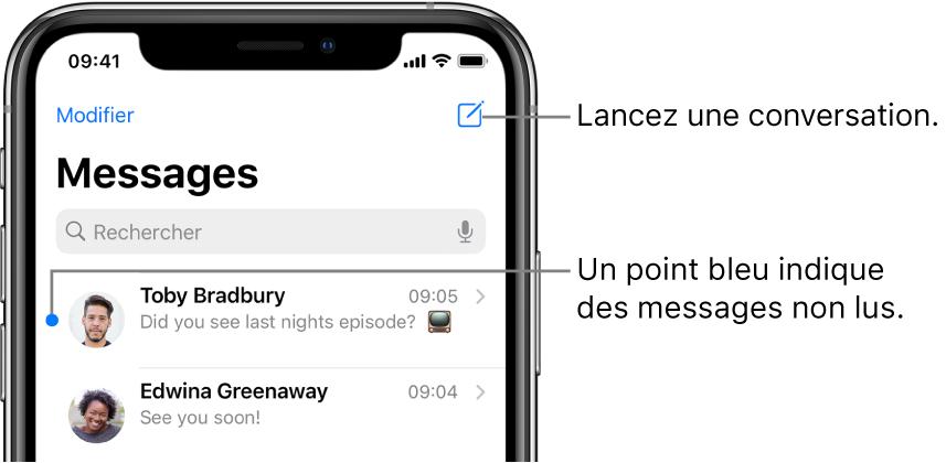 La liste Messages, le bouton Modifier en haut à gauche et le bouton Rédiger en haut à droite. Un point bleu à gauche d'un message indique que celui-ci n'a pas été lu.