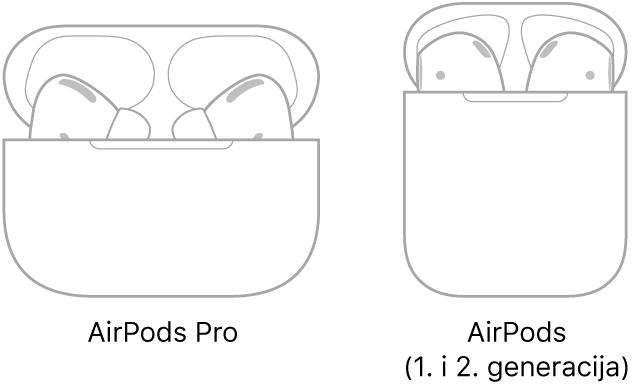 S lijeve strane, ilustracija AirPods Pro slušalica u njihovom kućištu. S desne strane, ilustracija AirPods slušalica (2. generacija) u njihovom kućištu.