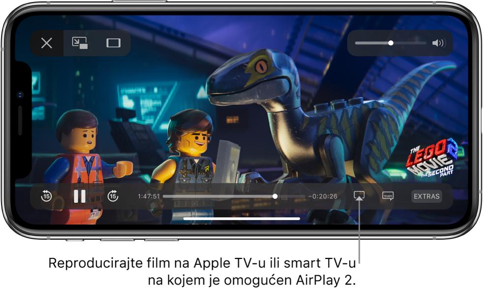 Film se reproducira na zaslonu iPhonea. Na dnu zaslona nalaze se kontrole reprodukcije, uključujući tipku Zrcaljenje zaslona pri dnu desno.