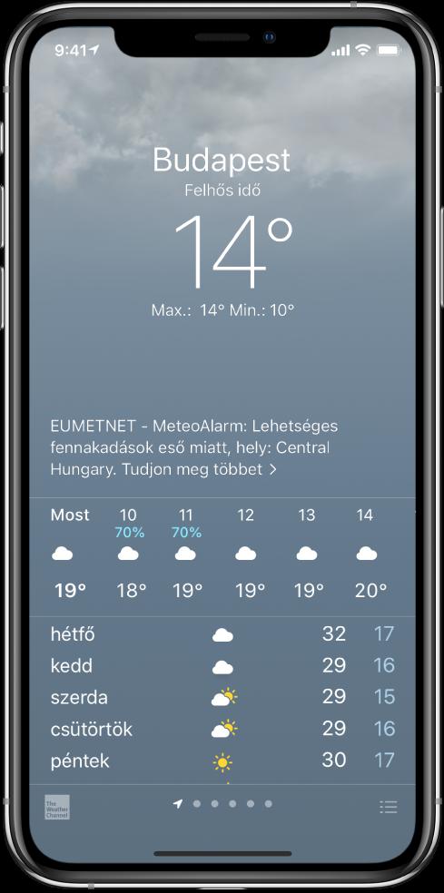 Az Időjárás képernyő, amelyen fentről lefelé haladva a következők láthatók: a helyzet, egy heves zivatarral kapcsolatos figyelmeztetés, az aktuális hőmérséklet, az adott nap legmagasabb és legalacsonyabb hőmérséklete, ezenkívül egy diagram a következő órára vonatkozó csapadékmennyiségekkel. A képernyő alján egy óránkénti előrejelzés jelenik meg, amelyet egy pontokból álló sor követ; a pontok azt mutatják, hogy hány hely lett hozzáadva a helyek listájához. A jobb alsó sarokban a Városok szerkesztése gomb jelenik meg.