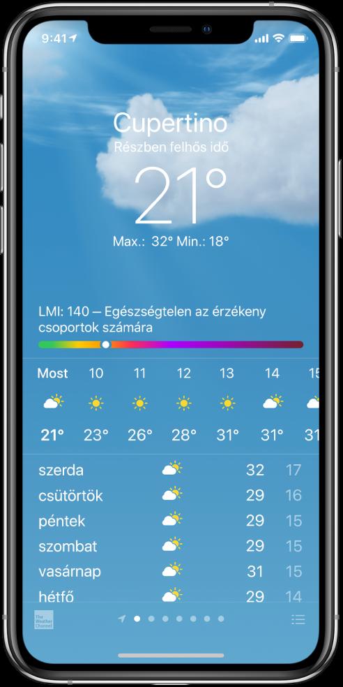 Az Időjárás képernyő, amelyen a helyzet, az aktuális hőmérséklet, az adott nap legmagasabb és legalacsonyabb hőmérséklete látható, ezenkívül egy levegőminőség-index, amelyen a következő szöveg olvasható: Egészségtelen az érzékeny csoportok számára. A képernyő közepén az aktuális óránkénti előrejelzés jelenik meg, amelyet a következő 7 napra szóló előrejelzés követ. Alul középen egy pontokból álló sor mutatja, hogy hány hely lett hozzáadva a helyek listájához. A jobb alsó sarokban a Városok szerkesztése gomb jelenik meg.