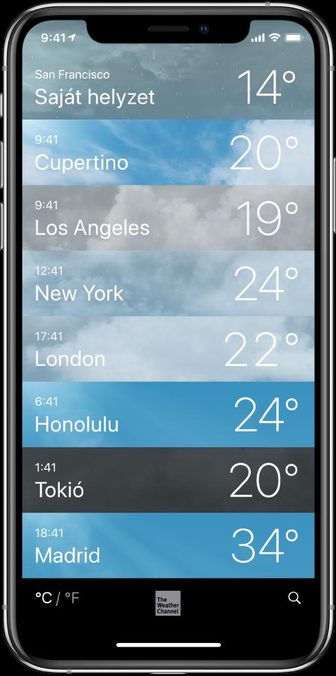 A városok listája az egyes városok pontos idejével és aktuális hőmérsékletével.