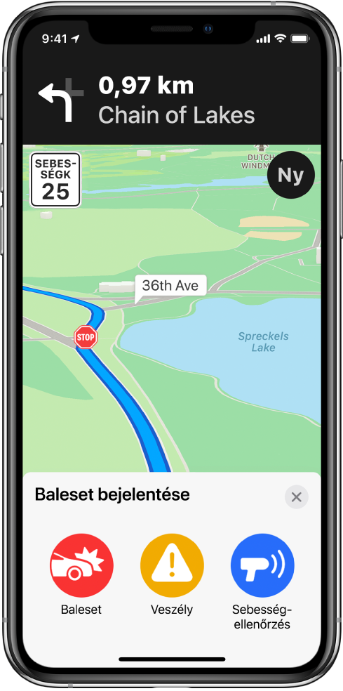Térkép, ahol a képernyő alján egy Baleset bejelentése címkével ellátott kártya látható. Az útvonal kártyáján a Baleset, a Veszély és a Sebesség-ellenőrzés gombok jelennek meg.