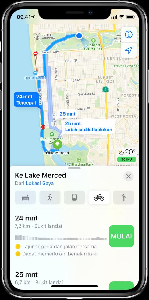 Peta menampilkan beberapa rute bersepeda. Informasi rute di bagian bawah menyediakan detail untuk rute, termasuk perkiraan waktu, perubahan elevasi, dan jenis jalan. Tombol Mulai muncul di samping setiap pilihan di informasi rute.