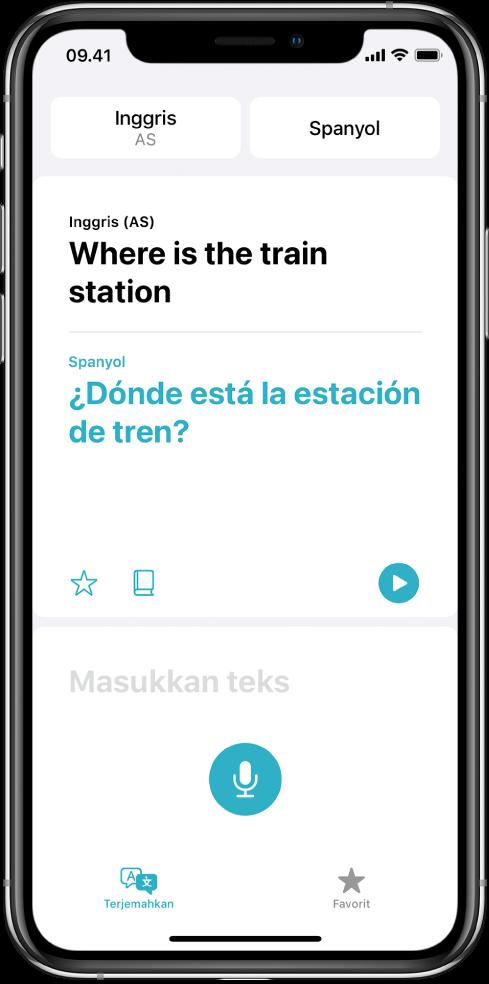 Layar Terjemahkan, menampilkan dua bahasa yang dipilih—bahasa Inggris dan Spanyol—di bagian atas, terjemahan di tengah, dan bidang Masukkan teks di dekat bagian bawah.