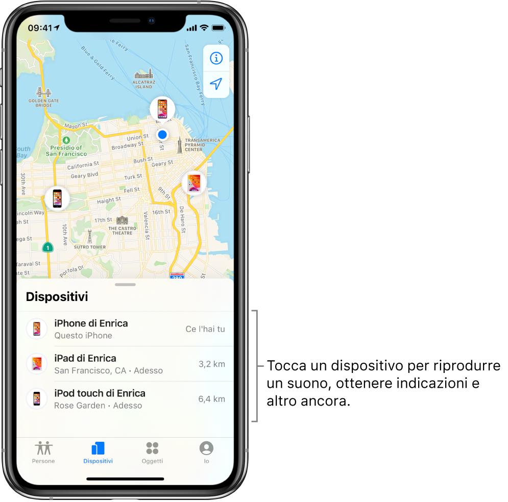 La schermata di Dov'è aperta sul pannello Dispositivi. Nell'elenco sono visibili tre dispositivi: iPhone di Enrica, iPad di Enrica e iPod touch di Enrica. Le loro posizioni sono mostrate su una mappa di San Francisco.