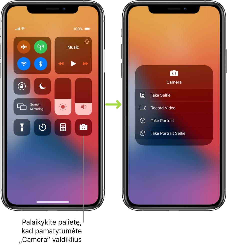 """Du """"Control Center"""" ekranai vienas prie kito– kairiojo ekrano viršutinėje kairiojoje grupėje rodomi lėktuvo režimo, mobiliojo ryšio duomenys, """"Wi-Fi"""" ir """"Bluetooth"""" valdikliai, taip pat nurodoma arba paliesti ir palaikyti apačioje esančią fotoaparato piktogramą, kad pamatytumėte """"Camera"""" parinktis. Dešiniajame ekrane rodomos papildomos """"Camera"""" parinktys. """"Take Selfie"""", """"Record Video"""", """"Take Portrait"""" ir """"Take Portrait Selfie""""."""