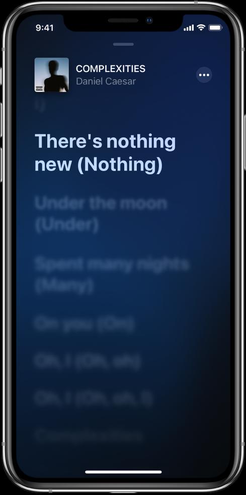Dainos žodžių ekrane rodomi dainos pavadinimas, atlikėjo pavadinimas ir papildomos informacijos mygtukas (viršuje). Dabartiniai žodžiai paryškinti, o tolesni žodžiai– pritemdyti.