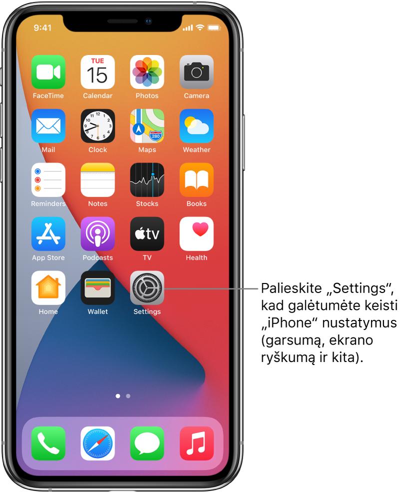 """Pradžios ekranas su keliomis programų piktogramomis, įskaitant programos """"Settings"""" piktogramą, kurią palietę galite keisti """"iPhone"""" garsumą, ekrano ryškumą ir kt."""