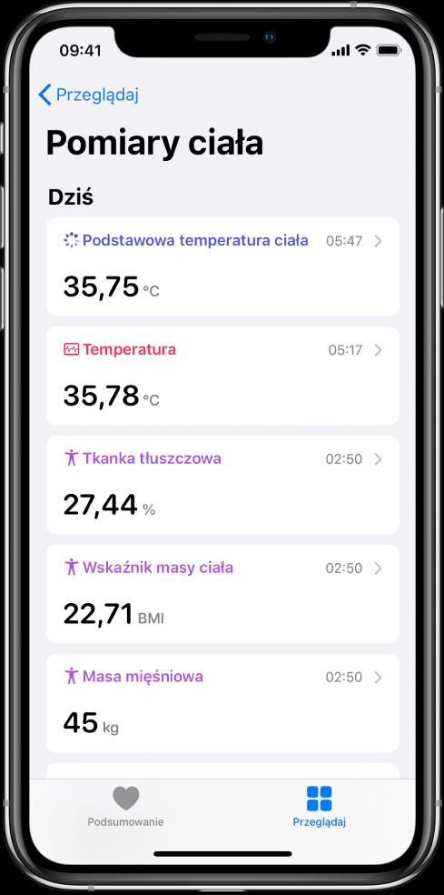 Ekran przedstawiający szczegóły dotyczące kategorii Pomiary ciała.