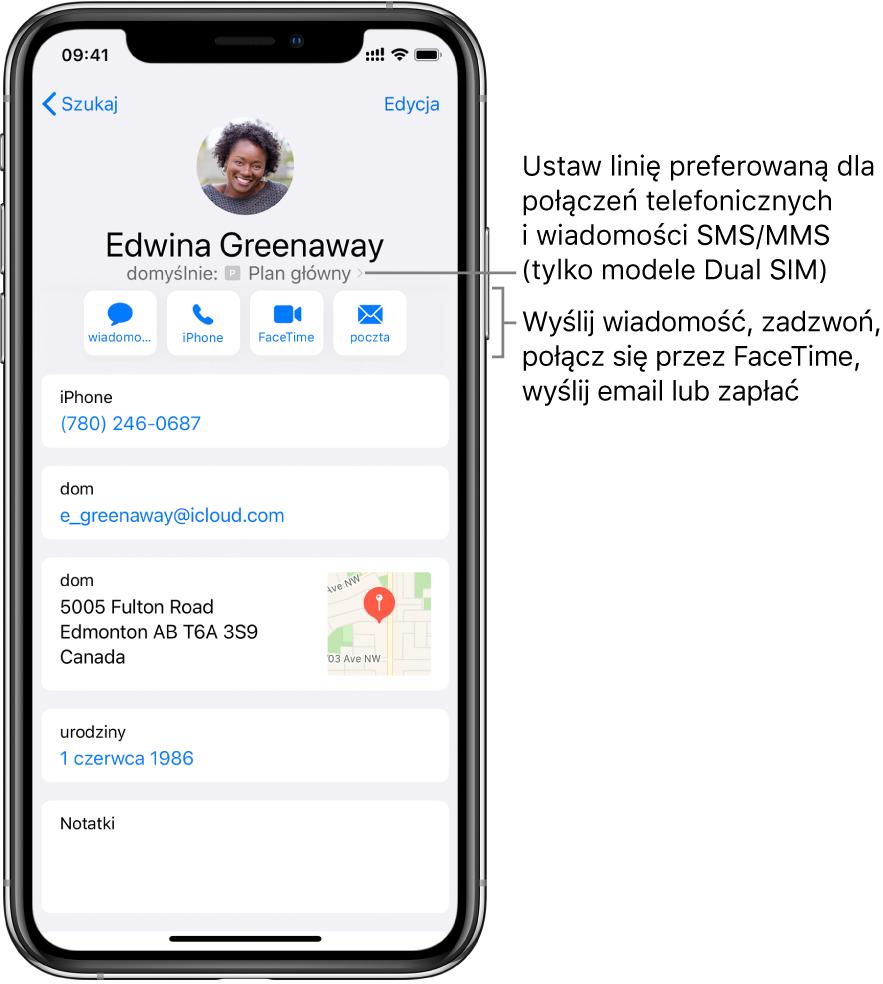 Ekran zdanymi kontaktu. Ugóry wyświetlane jest zdjęcie inazwa kontaktu. Poniżej znajdują się przyciski: wysyłania wiadomości, nawiązywania połączenia telefonicznego iFaceTime, wysyłania wiadomości email oraz wysyłania pieniędzy przez ApplePay. Pod przyciskami znajdują się dane kontaktu.
