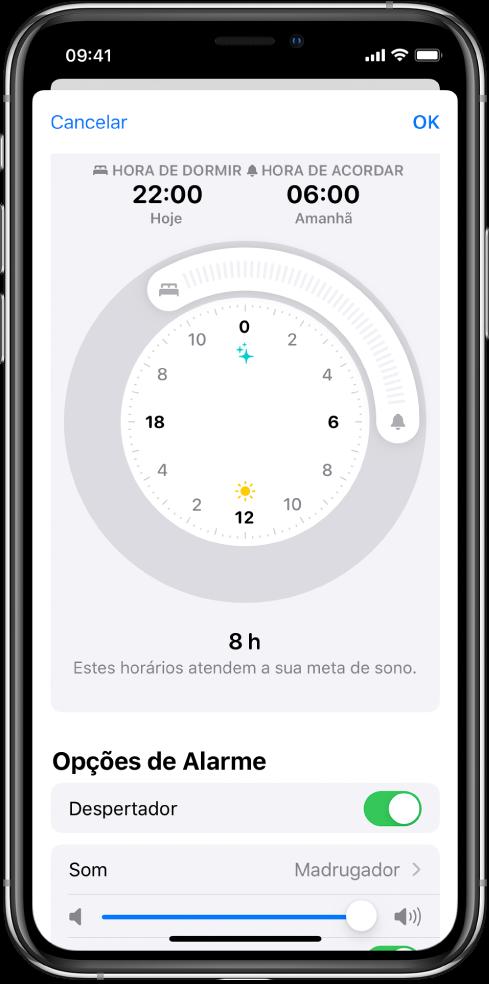 Tela mostrando a hora de dormir configurada para as 10 da noite hoje e a hora de acordar para as 6 da manhã amanhã. O despertador está ativado e o som do alarme é Madrugador.