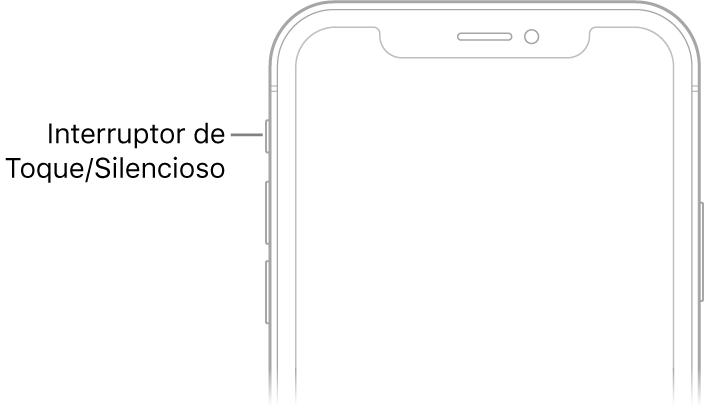 A parte superior frontal do iPhone, com chamada para o interruptor de Toque/Silencioso.