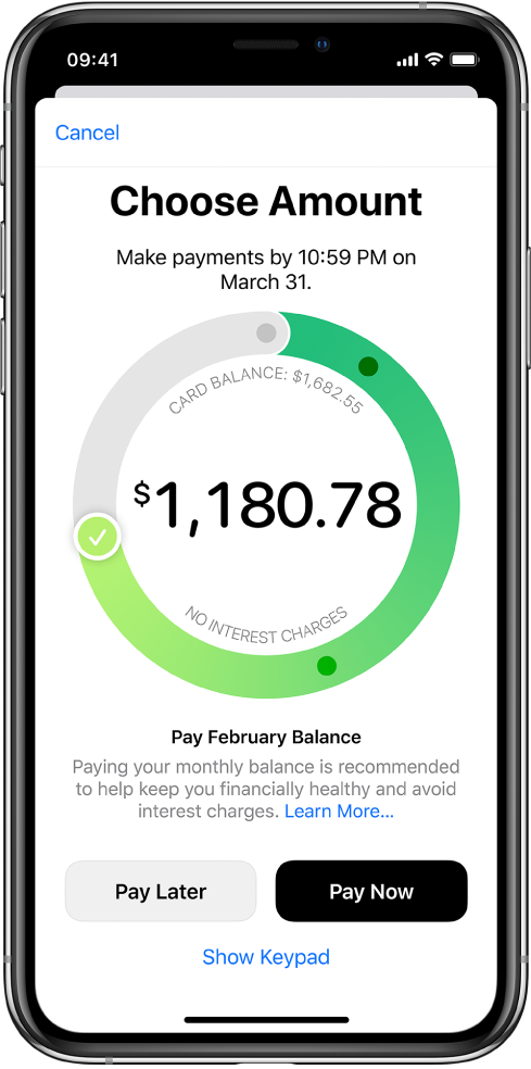 O ecrã de pagamento com uma marca de verificação que pode ser arrastada para ajustar o montante do pagamento. Na parte inferior, pode escolher pagar numa data posterior ou imediatamente.