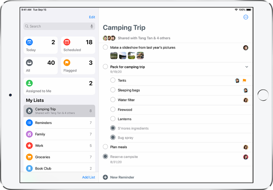 A Reminders screen showing reminder lists on the left side, and a list called Camping Trip on the right side. The New Reminder button is at the bottom center.