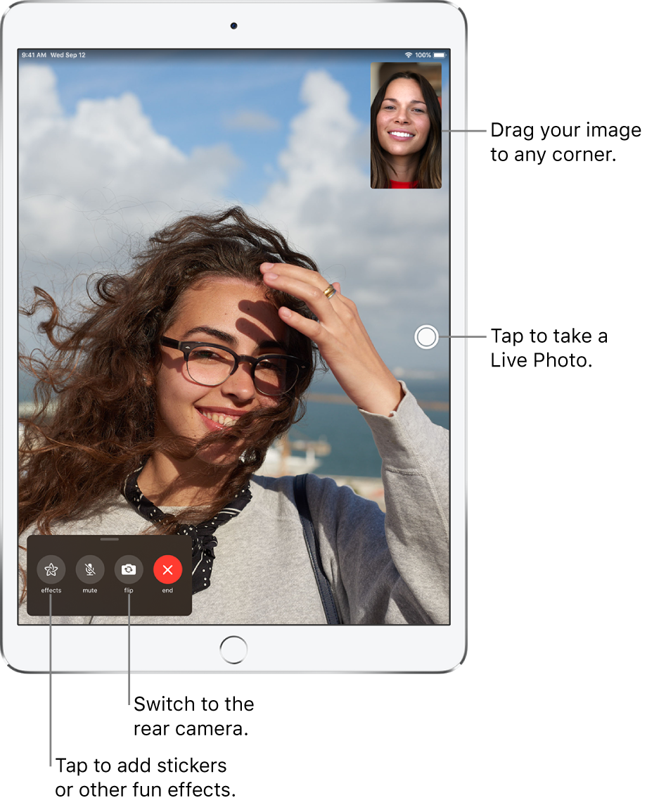 The FaceTime screen showing a call in progress. Your image appears in a small rectangle in the upper right, and the image of the other person fills the rest of the screen. Across the bottom of the screen are the Effects, Mute, Flip, and End buttons.