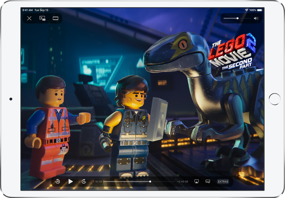A movie playing in the Apple TV app, with playback controls showing.