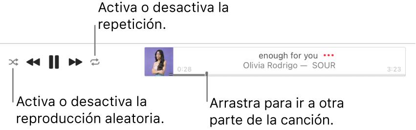 La parte superior de AppleMusic mostrando la canción que se está reproduciendo. Los controles de reproducción están en el extremo izquierdo. El botón Aleatorio está a la izquierda de los controles de reproducción mientras que el botón Repetir se encuentra a la derecha de los controles. Arrastra el cursor de reproducción para ir a un fragmento específico de la canción.