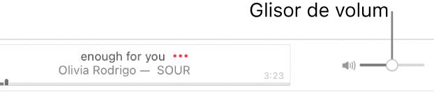 Glisorul de volum în partea din dreapta sus a aplicației AppleMusic.