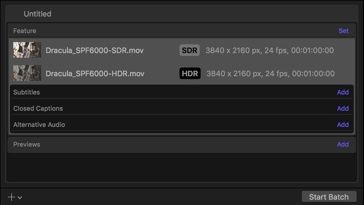 """Im Stapelbereich werden die Zeilen """"Inhalt"""" für SDR- und HDR-Video angezeigt."""