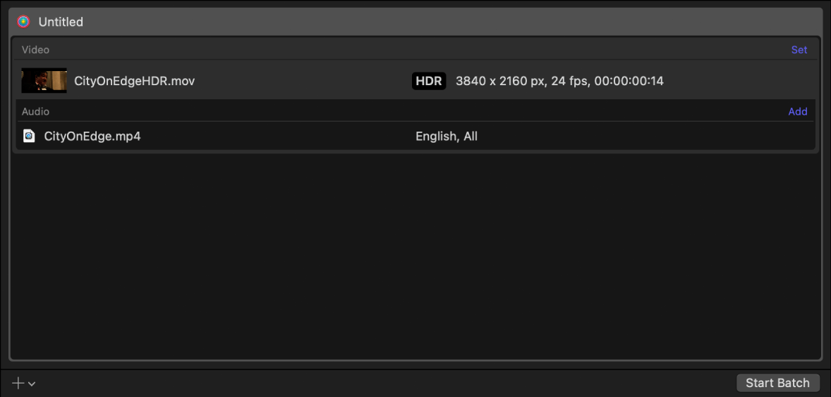 Batch area showing an output row for HDR video.