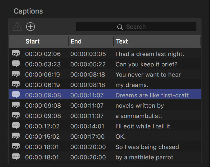 Captions list in the Closed Captions inspector