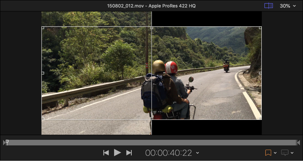 Preview area showing example of Panavision 2.35:1 cropping of a 16x9 source