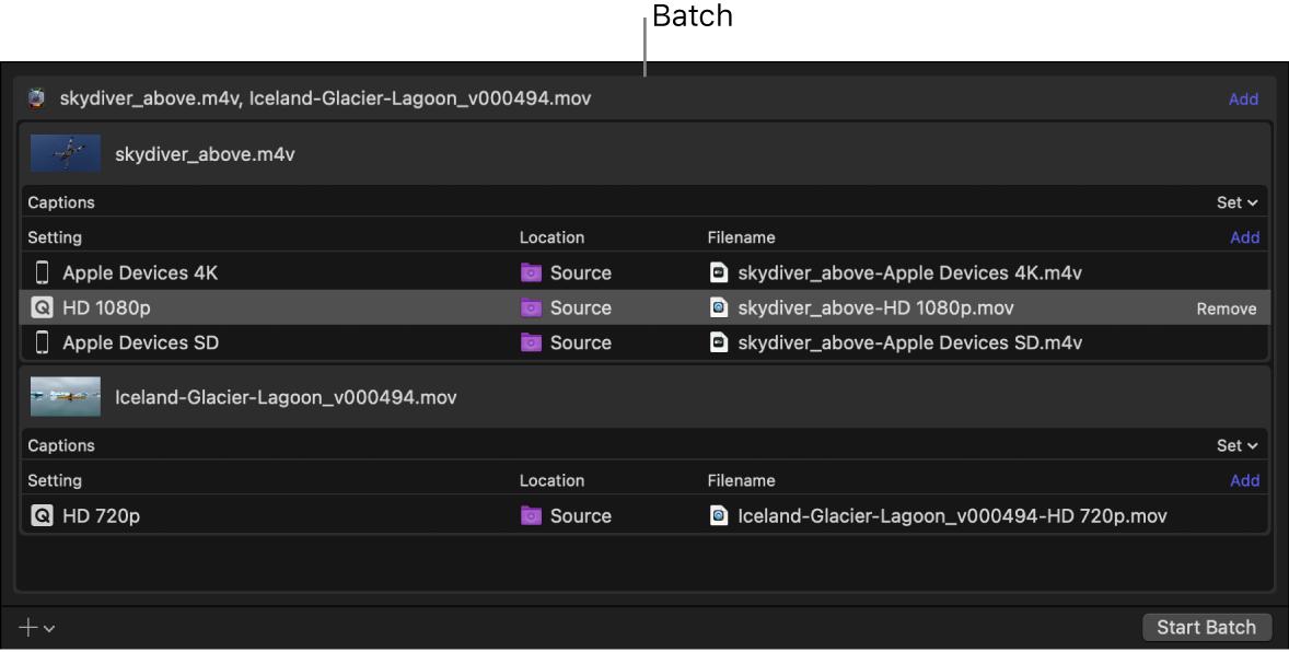Batch area showing batch header