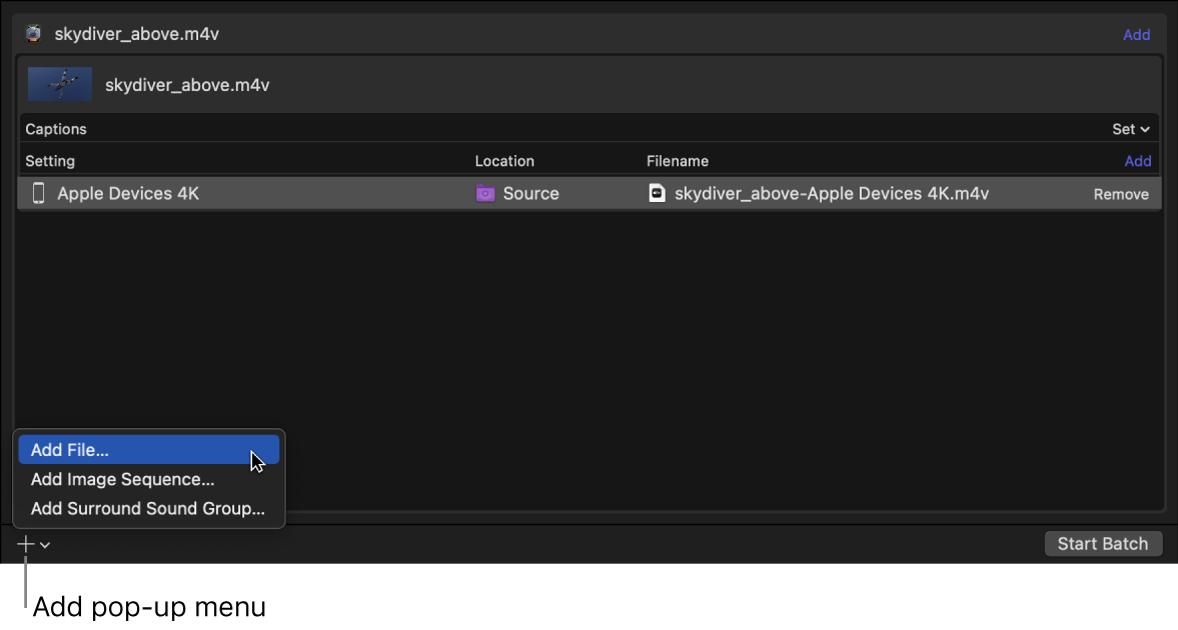 Batch area showing Add pop-up menu