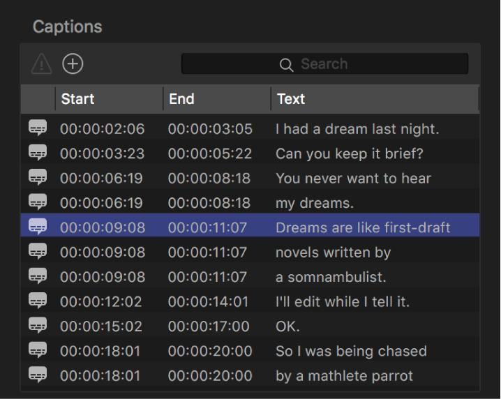 Lista de subtítulos en el inspector de subtítulos opcionales