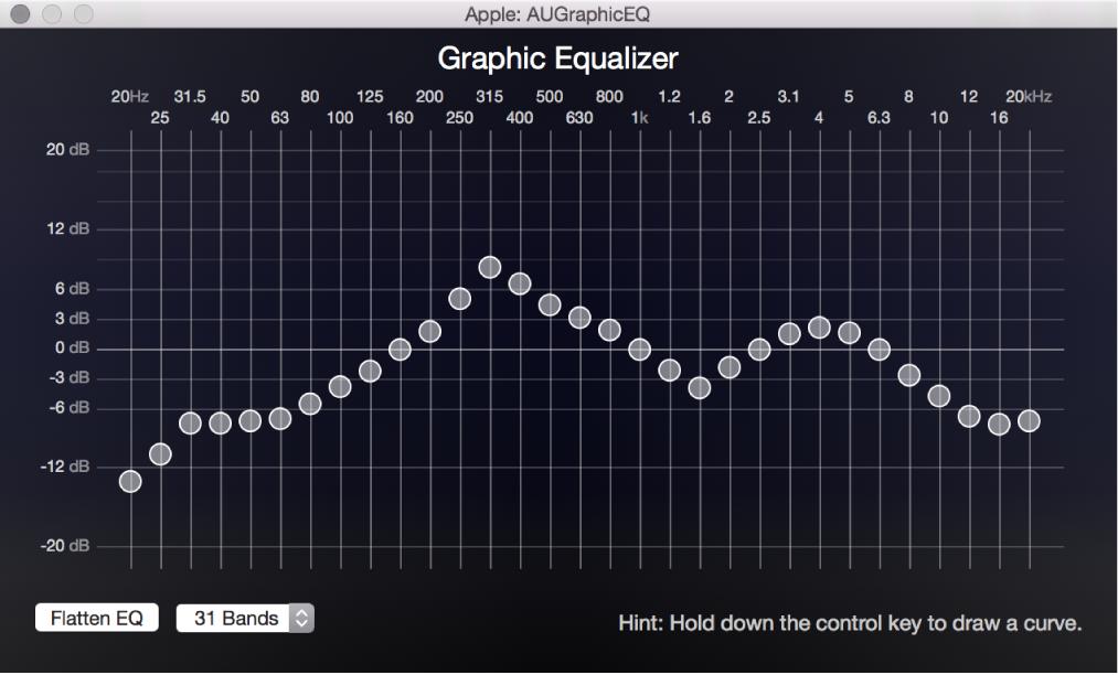 Ventana del ecualizador gráfico