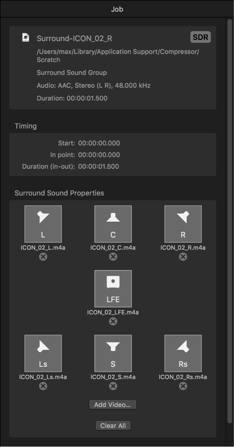 Inspector de tareas donde se muestra la tarea de audio surround