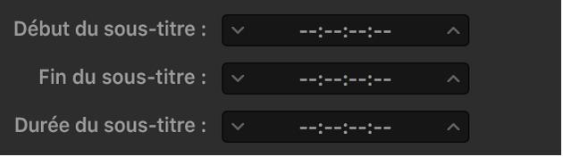 Champs de synchronisation des sous-titres montrant des tirets plutôt que le timecode