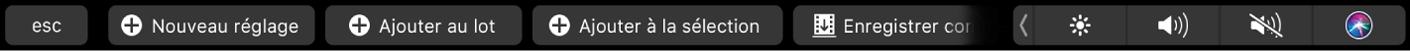 Bouton Réglage sélectionné défini