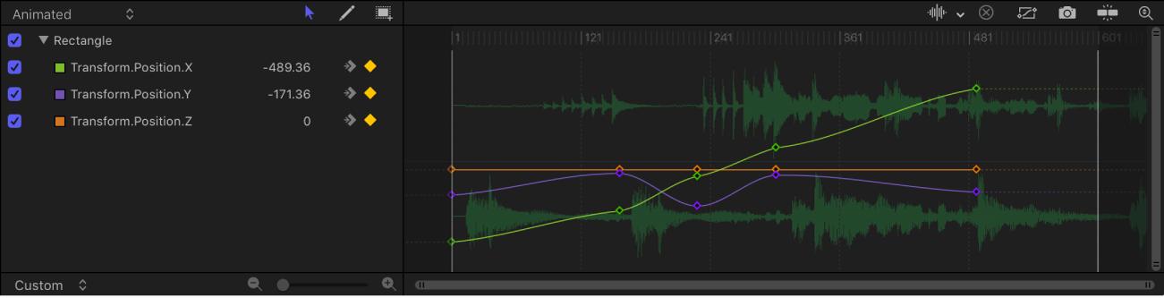 Audiowellenform im Keyframe-Editor.