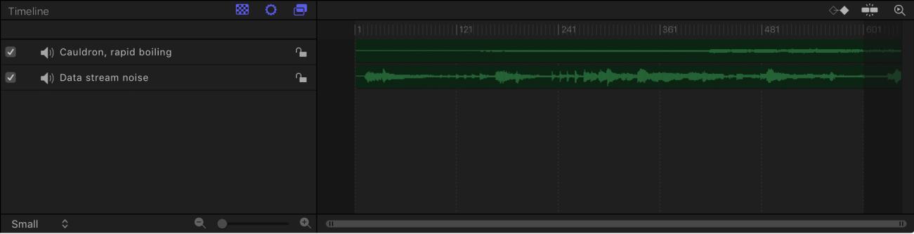Audio-Timeline, die zwei Spuren enthält