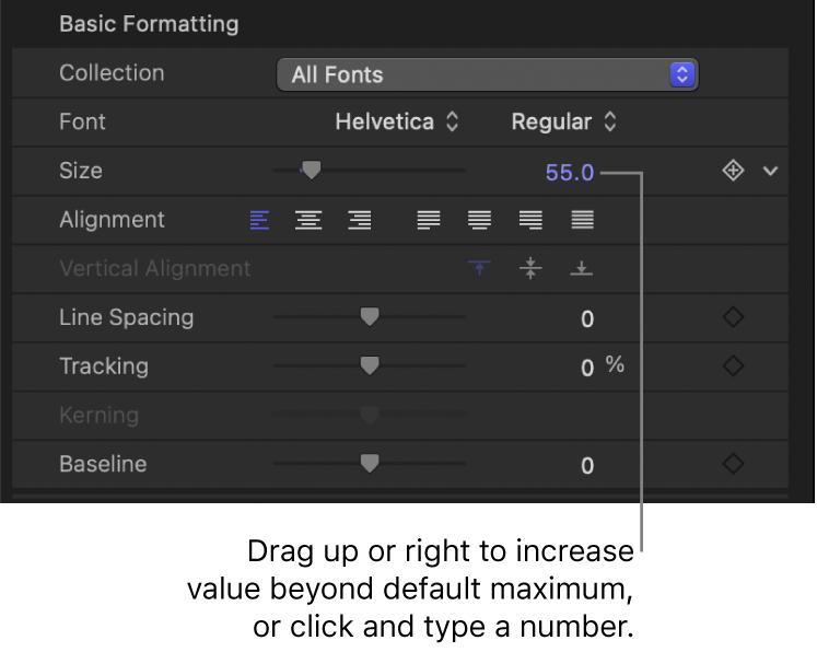 """Größenwertefeld für den Parameter """"Textgröße"""""""